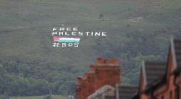 A protest banner against Israel saying Free Palestine on September 11, 2018, in Belfast, Northern Ireland. [James Williamson - AMA/Getty Images]