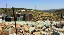 Palestinian-owned home demolished under MO1797 by the Israeli authorities in Halhul (Hebron), on 17 June 2021.( Photo by OCHA).