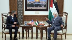 PALESTINIAN PRESIDENT MAHMOUD ABBAS MEETS WITH US SECRETARY OF STATE ANTHONY BLINKEN IN THE WEST BANK CITY OF RAMALLAH ON MAY 25, 2021. (PHOTO: THAER GANAIM/APA IMAGES)