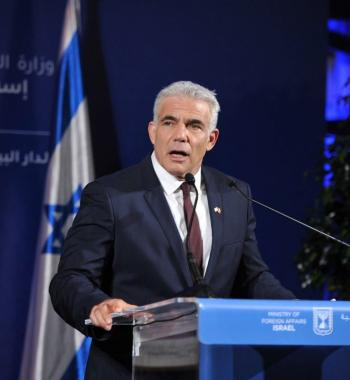 Israeli Foreign Minister Yair Lapid holds a press conference in Casablanca, Morocco on August 12, 2021